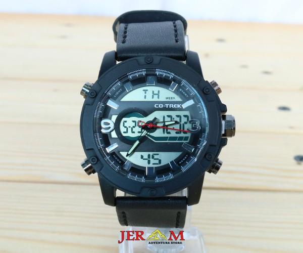 Jam Tangan Dual Time Strap Kulit Co-Trek Blackrock