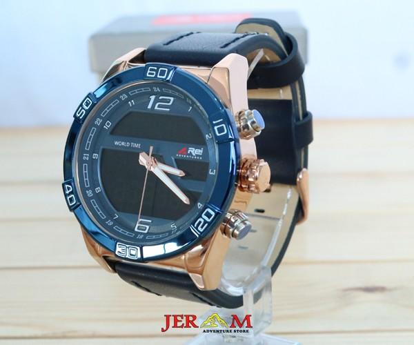 Jam Tangan Dual Time Strap Kulit Jam Tangan Rei Sierra