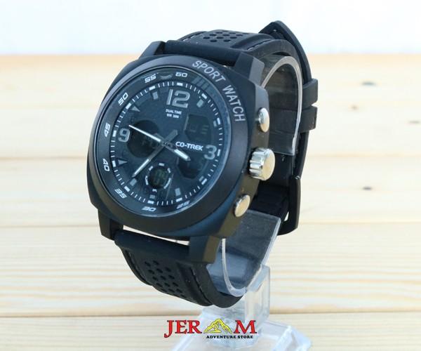 Jam Tangan Pria Hitam Strap Karet Dual Time Jam Co-trek Panther