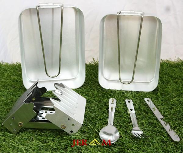 Peralatan Masak Outdoor Gunung Cooking Set Nesting Kotak Set Kompor Parafin