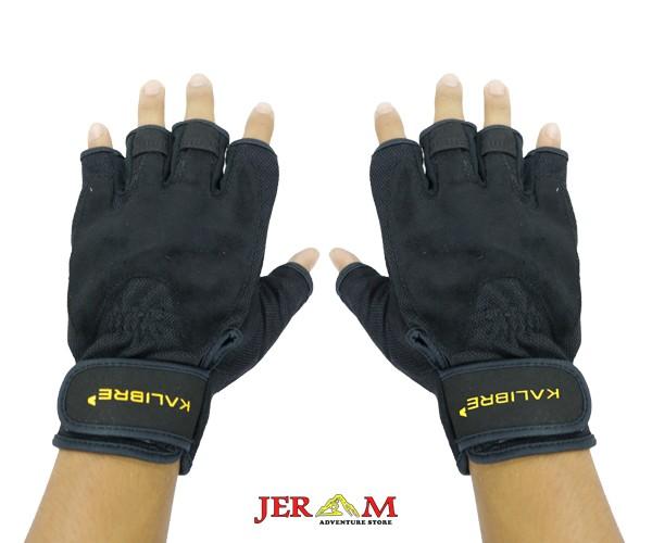 Sarung Tangan Touchscreen Sepeda Motor Setengah Jari Hitam Kalibre Gloves 992165 000